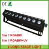 6in1 Rgabw+UV Colr 세척 9PCS 18W LED 단계 빛