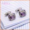 VAGULA Silber-überzogenes Kupfer-Hochzeits-Form-purpurrote Kristallhemd-Manschettenknöpfe