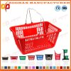 Bunter doppelter Metallgriff-Supermarkt-bewegliche Einkaufskörbe (Zhb106)