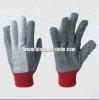 поставленный точки PVC хлопок сверла 8+10oz работая Glove-2205
