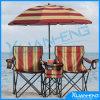 2 شخص يطوي [بش شير] مع مظلة وطاولة