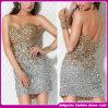 Платье партии сексуальных женщин открытое назад, роскошное платье вечера диаманта