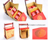 Mooncake Paper Cardboard Packaging Gift/Food Box com Wooden Handle