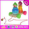 Kids、Children、Funny Baby Wooden Toy PullおよびPush Toy W05b070のためのStacking Pull Along Clownのための多彩なWooden Pull Back Toy