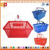 Panier à provisions en plastique neuf de luxe de traitement de double en métal (Zhb47)