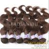 Onda humana Mongolian do corpo do cabelo de Remy da cor de Brown da beleza