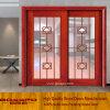 Resbalando la puerta de madera de la cocina con la parrilla de cristal (GSP3-016)