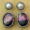 Pendientes rojos de la perla de la manera con joyería de piedra natural de la piedra preciosa