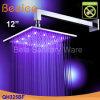 Acqua fissata al muro che salva 12  testa di acquazzone d'ottone di pioggia LED (Qh325bf)