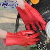 Nmsafety черновая отделка Красный ПВХ Рабочие перчатки с чипом на ладони