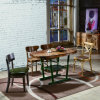 Moderner hölzerner Tisch und Stuhl mit den ledernen Möbeln eingestellt (SP-CT787)