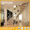 Moderne gebogene Treppenhaus-Glasbalustrade-schraubenartige hölzerne Treppe mit Geländer