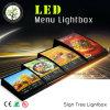 Scheda acrilica del menu del LED, casella chiara del menu, ristorante LED che fa pubblicità a Lightbox
