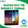 Androïde 4.2 ROM 4G RAM 512 IPS 5  Inch 1080P WCDMA Dual SIM 3G Smartphone