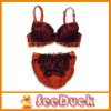 Fashion Lingerie Set with Padded Bra and Panties/Shorts, Adorned by Eyelash Lace/Two-Color Bowknot (SD1216)