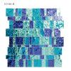 Mosaico de vidro brilhante de cristal Polished azul das telhas de assoalho do banheiro