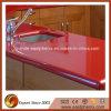 Bancada de pedra artificial de superfície contínua vermelha da cozinha com tabela