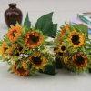 Flor artificial de los ramos del girasol de la alta calidad usada para la decoración (SF13396)