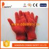7 перчаток связанных шнуром безопасности полиэфира хлопка датчика красным Dck501