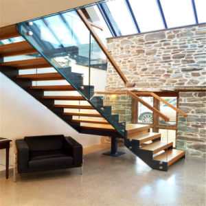 L Shape Stairs Double Stringer Straight Staircase With Timber Steps
