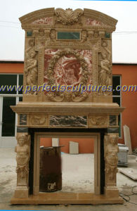 Stone Marble Fireplace Mantel for Indoor Marble Carving (QY-LS195) pictures & photos