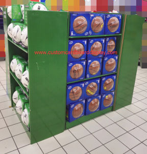 Four-Sided Cardboard Pallet Display with Shelves and Hooks for Sporting Goods pictures & photos