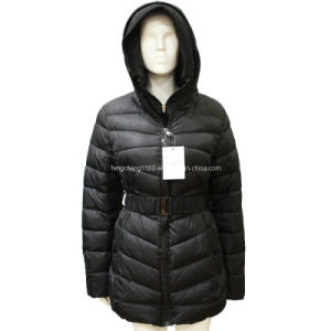 Ladies Warm Down Overcoat with Hooies (AH-0184) pictures & photos