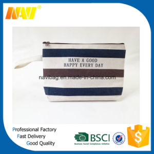 Striped Simple Hand Lady Canvas Cosmetic Bag
