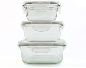 3PCS Microwave Oven Safe Glass Food Storage Container Set pictures & photos