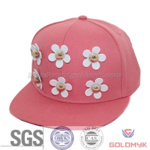 Acrylic Snapback Hat with Flower Decoration (GKA15-A00032) pictures & photos