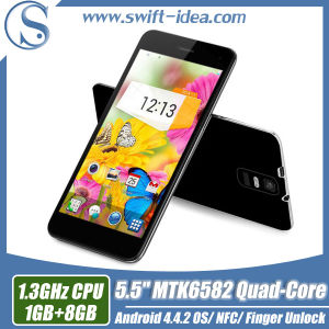 Android 4.4.2 Mt6582 Built in Fingerprint Unlock / Gesture Sensor / Nfc 5.5 Inch Smart Phone (T1)