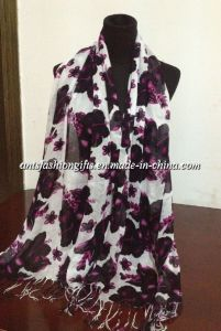 2014 Latest Printed Viscose Scarf for Women (Ants-S1467)