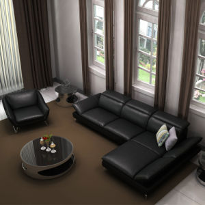 Elegant Black Italian Leather Recliner Sofa Set with Headrest (LS-008)