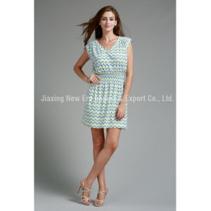 Women′s Ladies Print V-Neck Fashion Dress