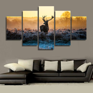 HD Printed African Sunset Deer Group Painting Canvas Print Room Decor Print Poster Picture Canvas Mc-096 pictures & photos