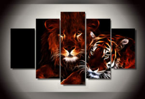 HD Printed Glowing Lion and Tiger Poster 5 Pieces Group Painting Room Decor Print Poster Picture Canvas Mc-139 pictures & photos