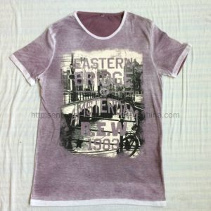 Summer Purple Faded Short Sleeve T-Shirt in Men′s Knitwear Sport Clothes Fw-8669 pictures & photos