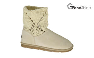 Women′s New Arrival Girls Knitting Shaft Snow Low Boots