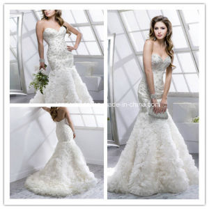 2015 New Silvery Sweetheart Alencon Lace Mermaid Wedding Dress Yao122 pictures & photos