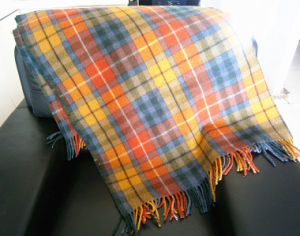 Machine Woven Color Plaid Lambwool Throw pictures & photos