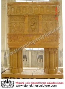 Hand Carved Marble Fireplace (SK-001) pictures & photos