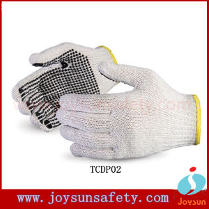 Cotton Working Gloves Dotted Knitted Glove with PVC Dotts (TCDP05)