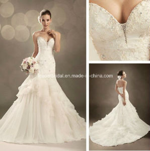 White Beading Pick UPS Court Train Mermaid Wedding Dress Yao97 pictures & photos
