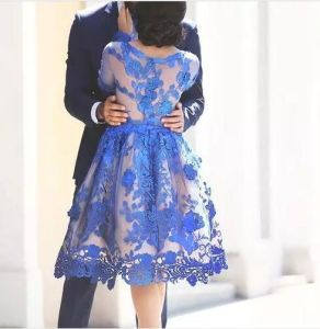 Blue Party Homecoming Dress Lace Tulle Long Sleeves Prom Party Cocktail Dresses Y2016 pictures & photos