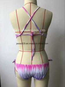 2017 Sexy Ladies Crochet Two-Piece Printed Bikini Swimwear pictures & photos