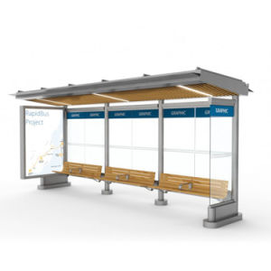 Q304 Stainless Steel Custom-Made Advertising Bus Stop Shelter Manufacture pictures & photos