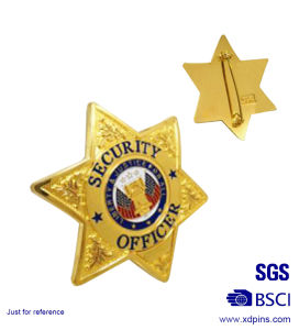 Special Design Brass Metal Enamel Police Badge with Safety Pin pictures & photos