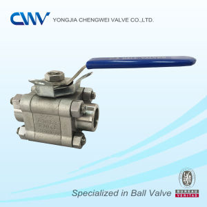 Three Pieces Stainless Steel Floating Ball Valve with Locking Device