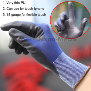 Nmsafety Super Thin PU Touch Screen Safety Work Glove pictures & photos