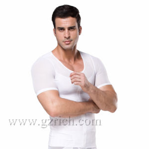 Mens Body Shaper Short Sleeve Mesh Undershirt with Zipper pictures & photos